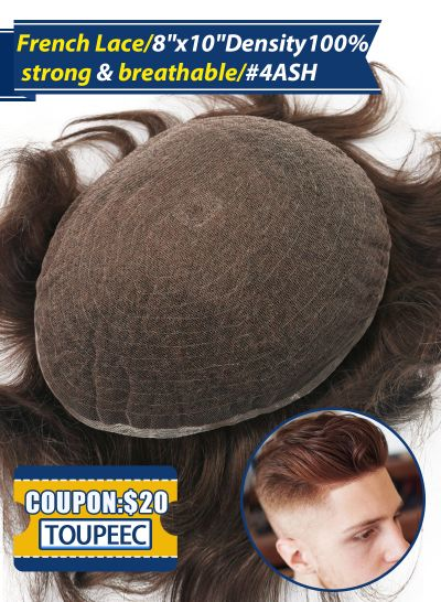 Toupee For Men Full French Lace Hair Replacement System #4ASH - mens toupee hair