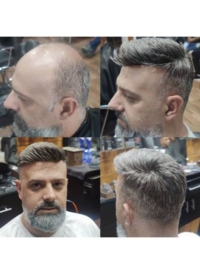 Custom Mens Toupee Hair Thick Skin V-looped Hair pieces For Men Grey Hair - mens toupee hair