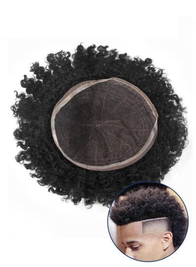 Custom Afro Curly Hair 8MM Mens Hair Pieces Undetectable Full French Lace Toupee For Black Men - mens toupee hair