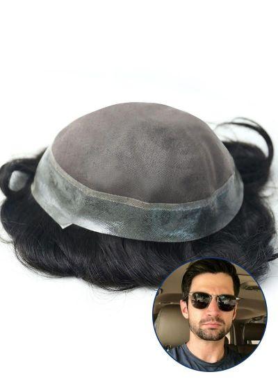 Toupeec Mens Toupee Fine Mono with Thin Skin around Hairpiece for Men - mens toupee hair