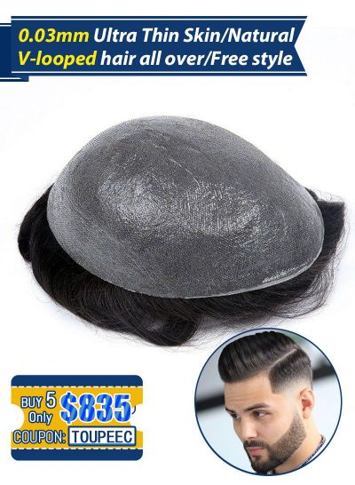 Custom Toupee For Men Ultra Thin Skin Mens Hair Replacement  Systems Set( 5 pcs $835,only $167 Per Unit)