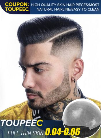 Mens Toupee Hair Piece 0.04-0.06 mm Thinnest Skin Hair System Disposable