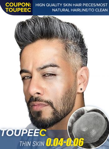 Thin Skin Toupee Hair Replacement System For Men V-looped Men's Hair Pieces In Stock #230