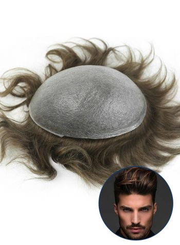 Custom Toupee For Men Super Thin Skin Base V-looped Mens Hair Replacement System
