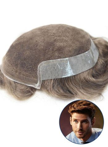 High-Quality Toupee For Men Poly Skin and French Lace Front Hair Replacement Mens Hairpieces