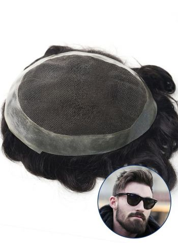 Men's Toupee French Lace Front with PU Perimeter Custom Hair Replacement System