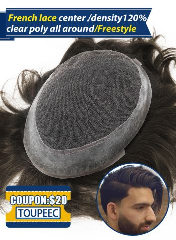 Men's Toupee French Lace with Super Thin Skin Custom Hair System for Men