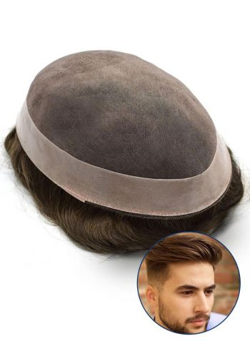 Custom Mens Hair Systems SuperFine Welded Mono with PU Periphery Single Knotted Toupee For Men