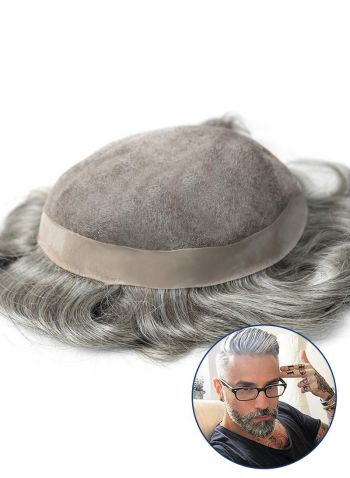 Durable and Breathable Mens Hair Systems Fine Mono with PU Perimeter Custom Toupee for Men