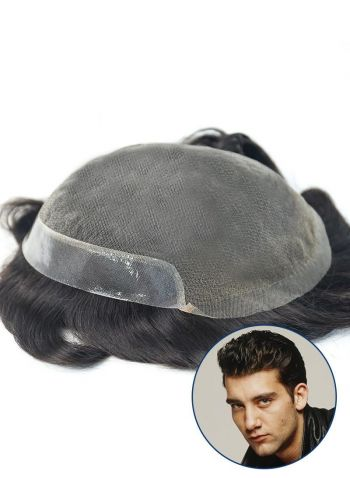 Mens Toupee French Lace with PU Lace Front Men's Hairpieces