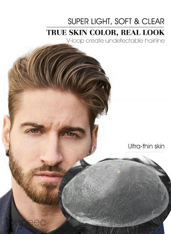 Super Thin Skin Stock Men's Hair System With High-Quality Remy Hair Toupee