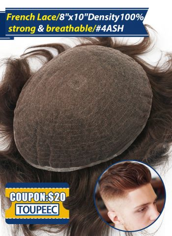 Toupee For Men Full French Lace Hair Replacement System #4ASH