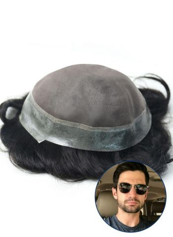 Toupeec Mens Toupee Fine Mono with Thin Skin around Hairpiece for Men