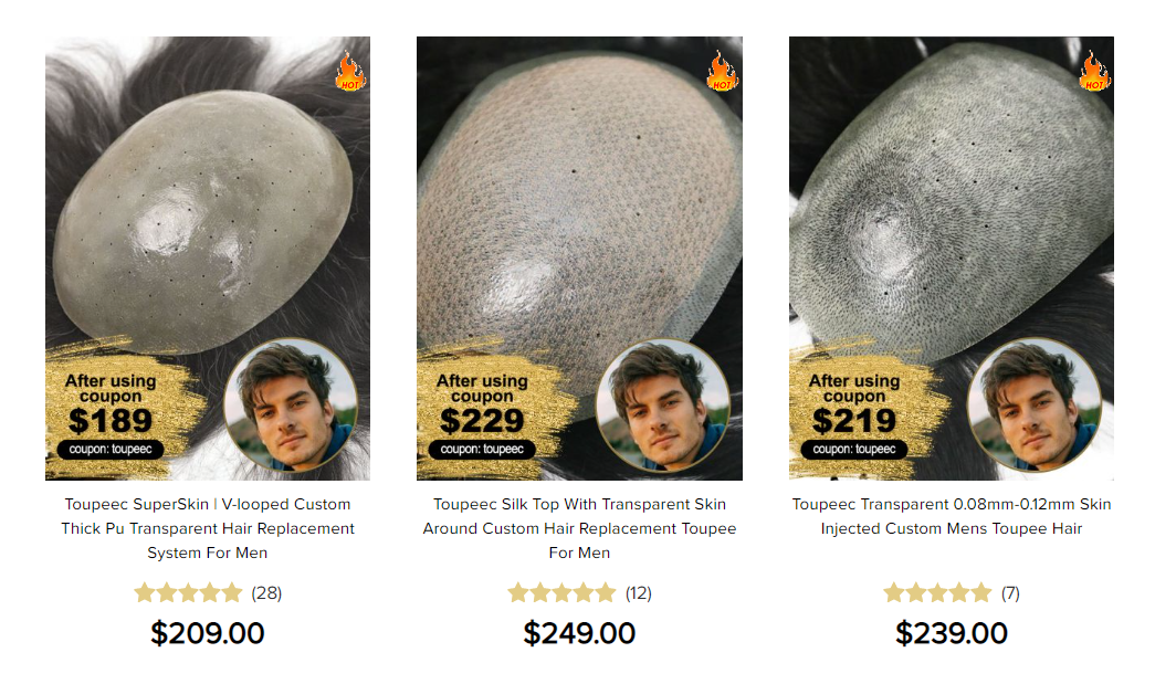 Hair replacement system pricing: thick skin skin hair systems