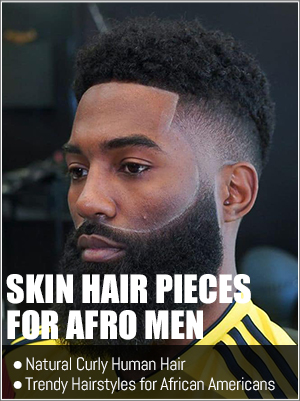 Natural curly human hair pieces for afro men