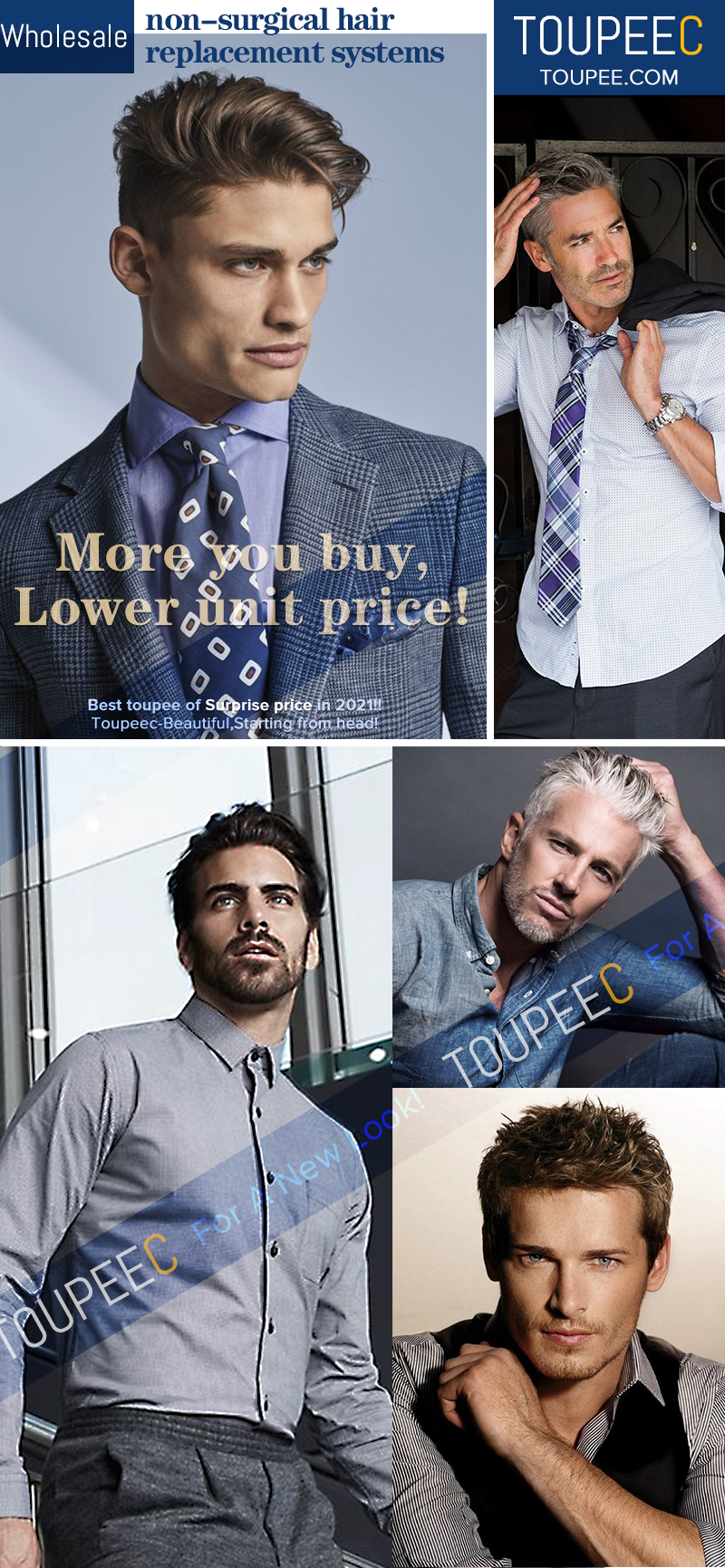 Wholesale non-surgical hair replacement systems for men