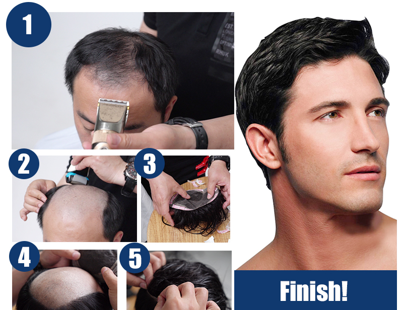 How to put on hair toupee for men step by step